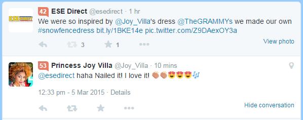 Tweet from Joy Villa