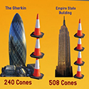 How Many Traffic Cones High Are These Famous Buildings?