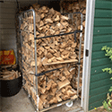Roll container makes mobile wood store