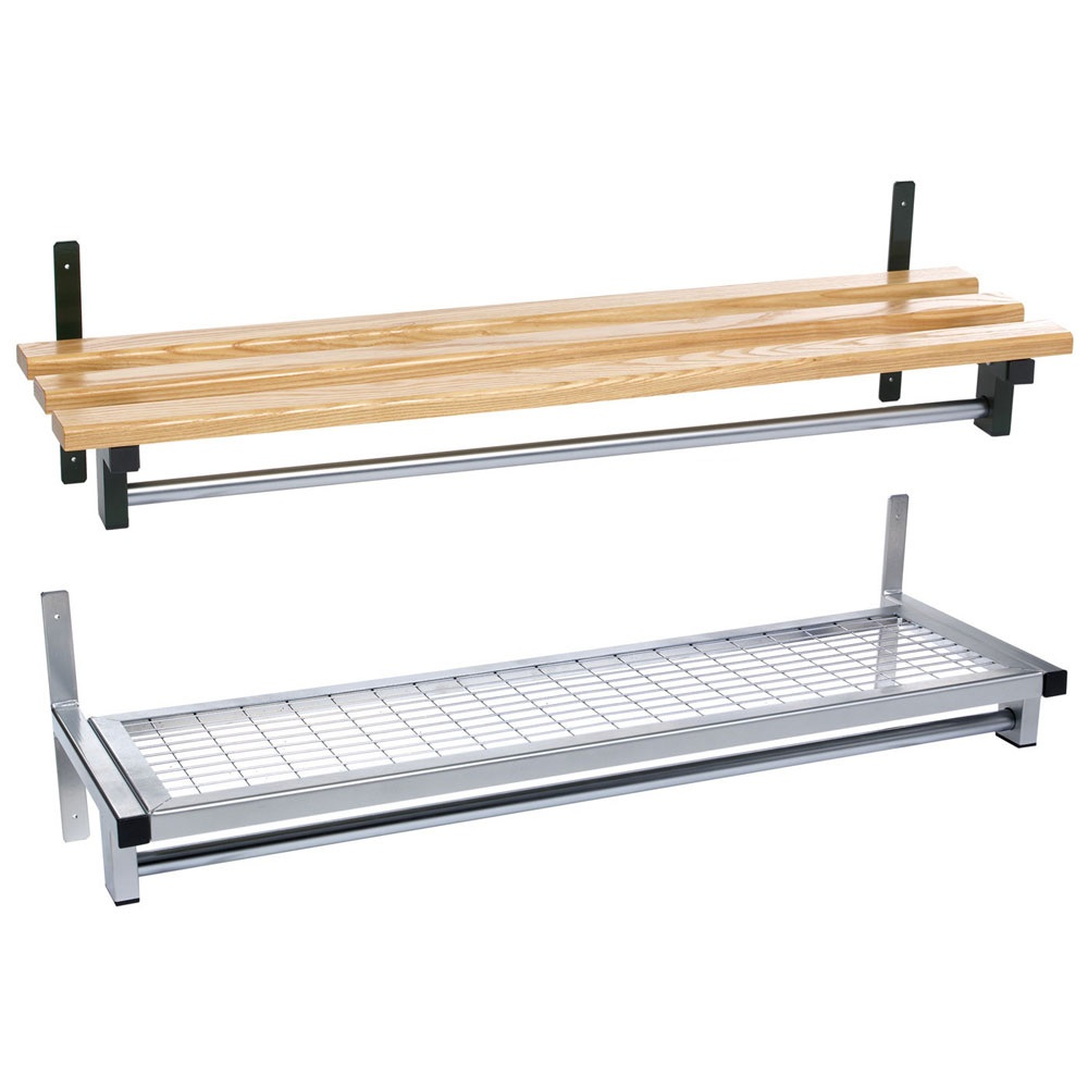Wall Fixed Mesh Or Wood Shelf With Garment Hanging Rail