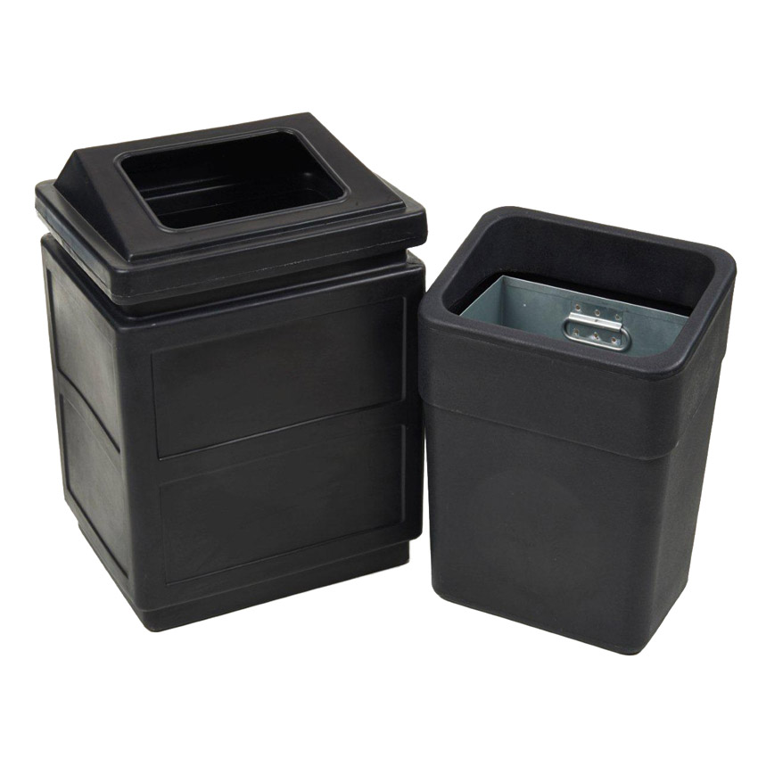 Recycled<br /> Black Wall Mounted Litter Bins
