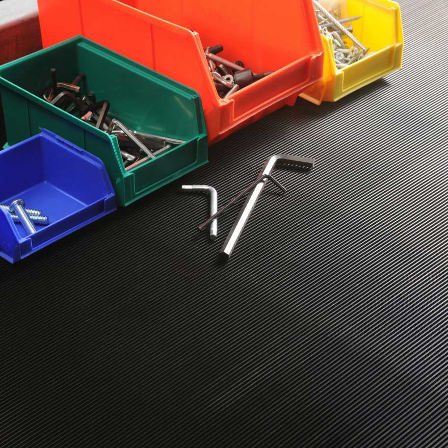 Standard Fine Fluted Rubber Matting 3mm or 6mm thick - per metre
