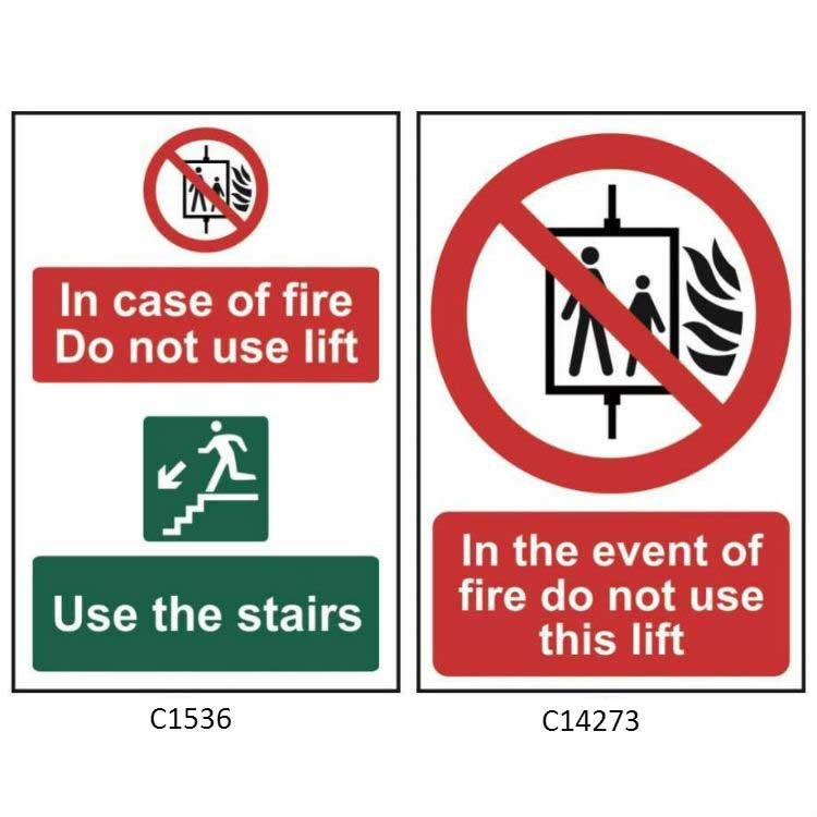In The Event Of Fire Do Not Use This Lift Sign Ese Direct