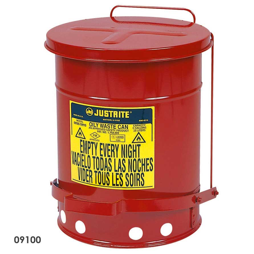 Justrite Oily Waste Cans Solvent Flammable Wipes Amp Rags