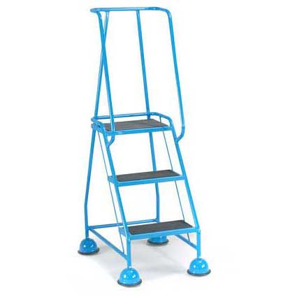 3 Ribbed Rubber Tread Glide-along Mobile Steps With Handrails