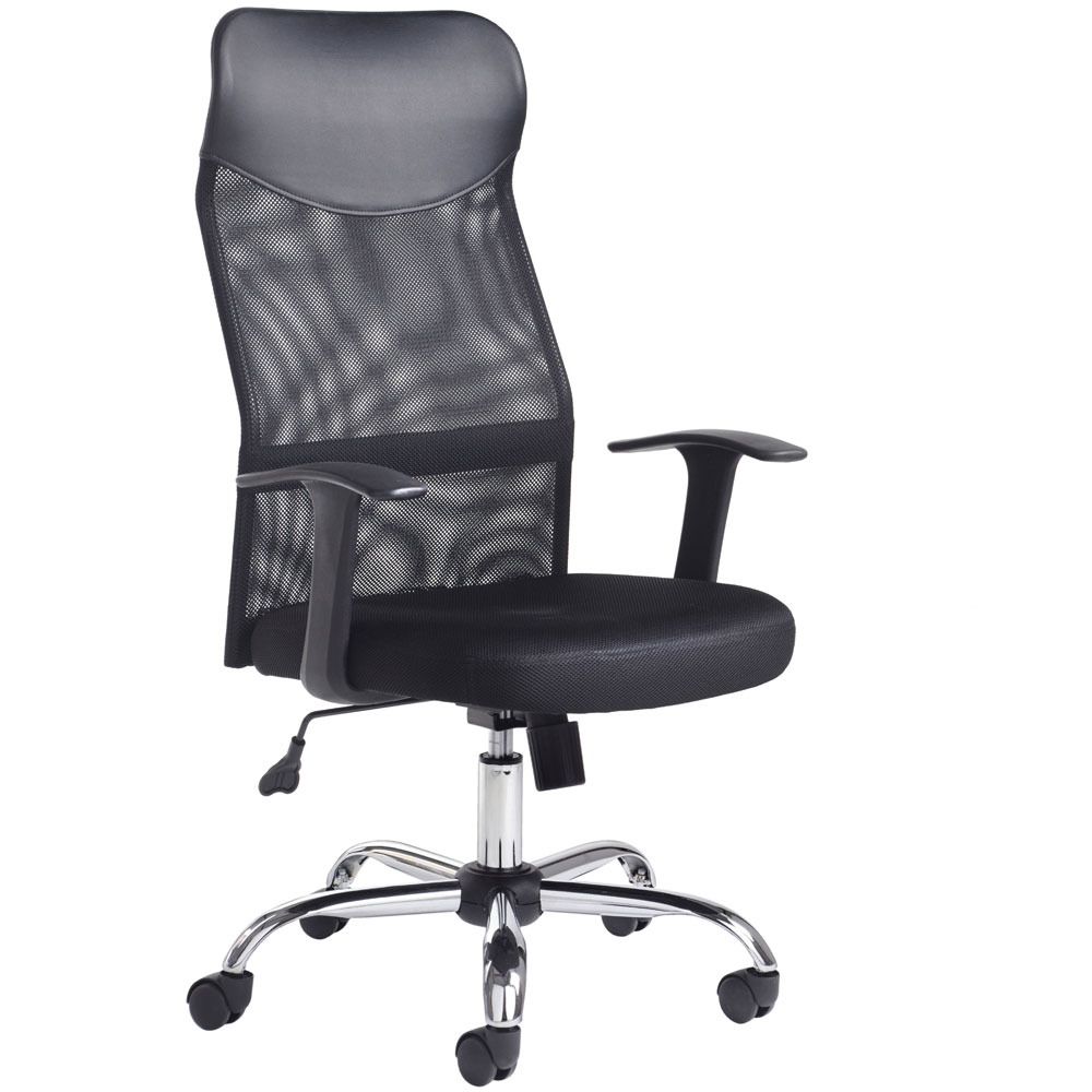 High Back Mesh Chair, Black and Chrome with Head and Arm Rests