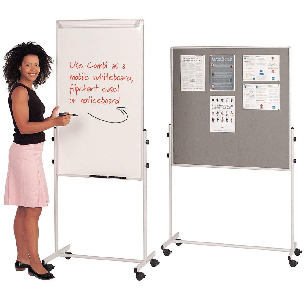 Mobile 3-in-1 Flip Chart, Wipeboard, Noticeboard Combination Unit