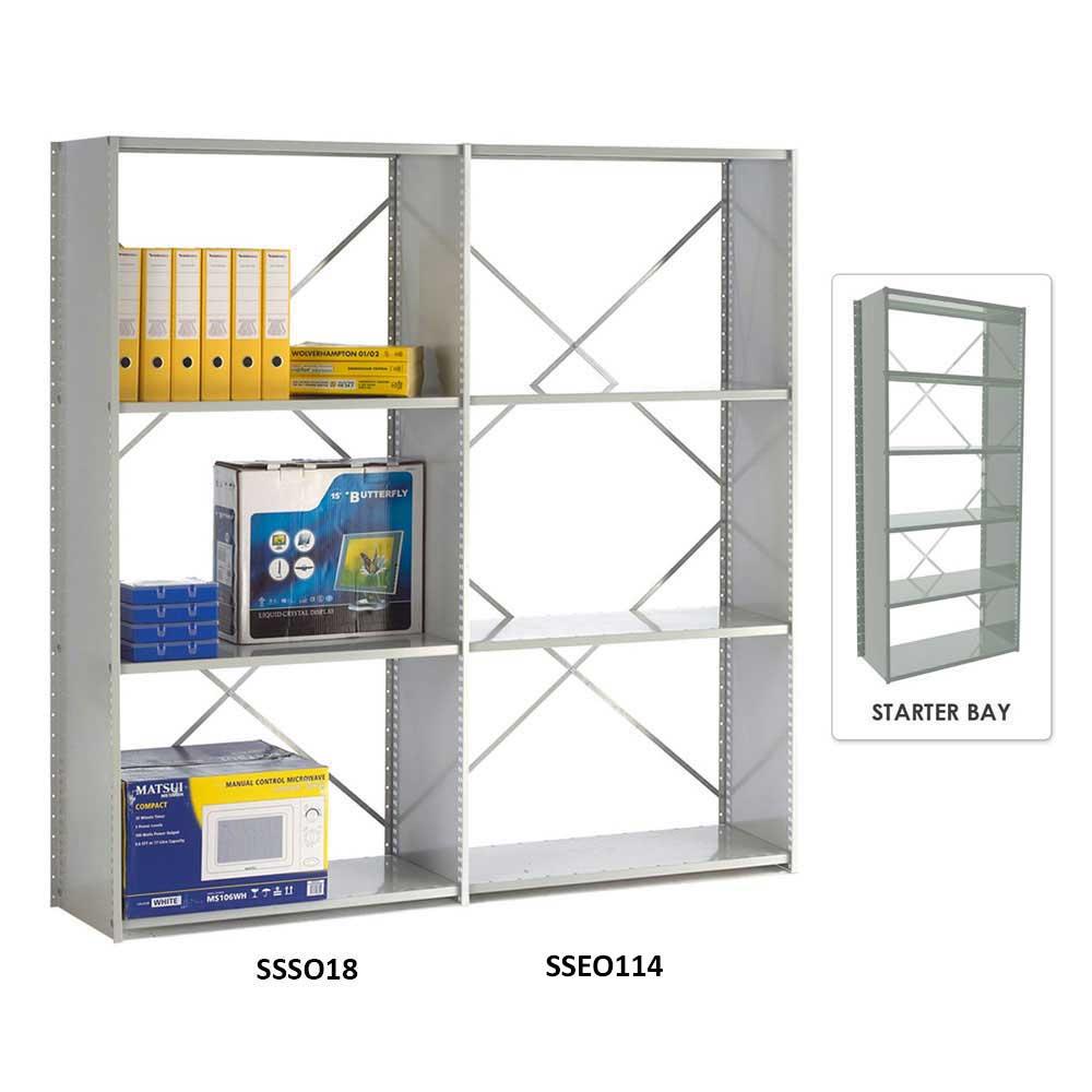Open Back Solo Shelving Starter Bay with 6 Shelves