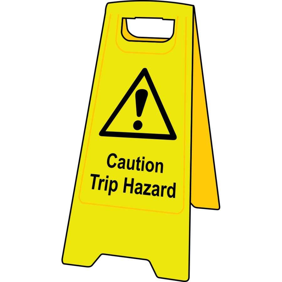 Caution trip hazard floor sign stand 4706 ese direct for Floor banner