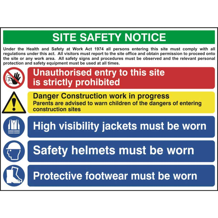Construction Site Safety Sign With 1 Prohibition 1
