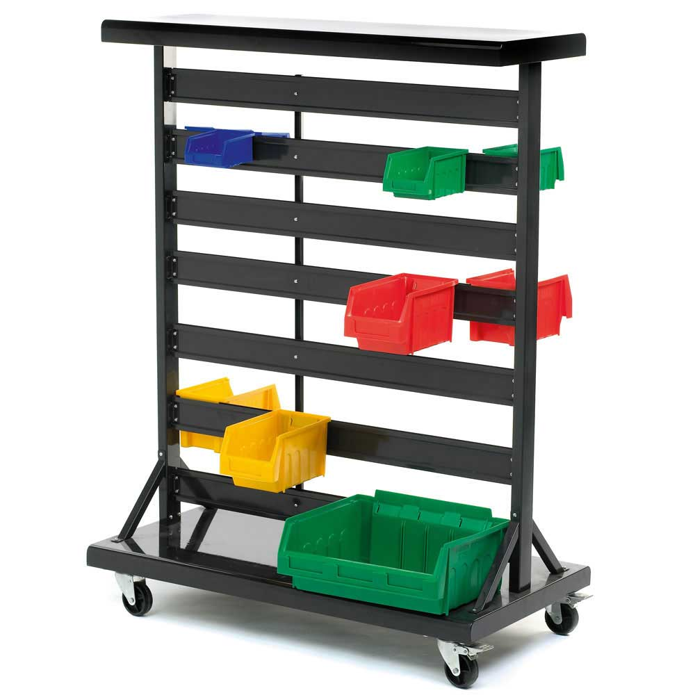 Double Sided Mobile Plastic Bin Container Rack Gilr2y