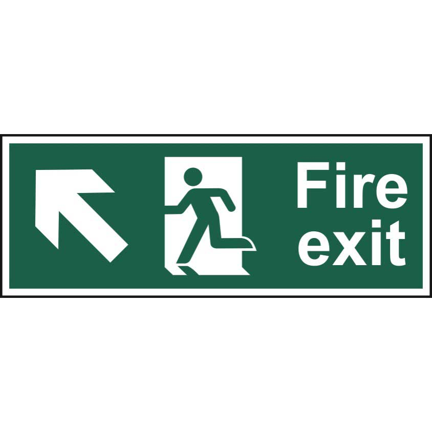 Fire Exit Arrow Up Left Sign Ese Direct