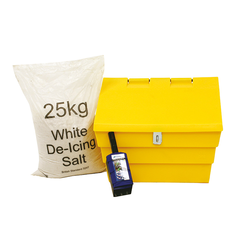 Mini Sized 50 Litre Grit Bin, Available With 25kg Bag of Salt & Scoop