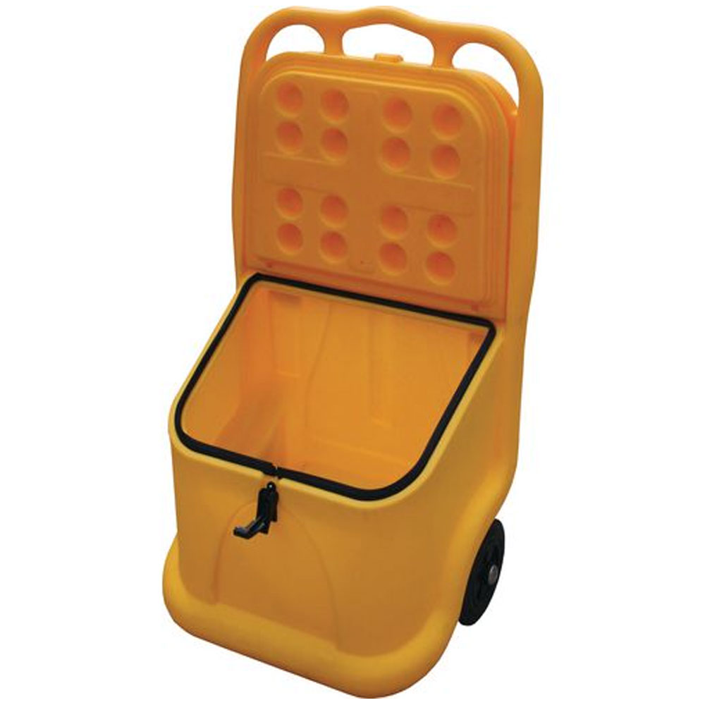 Mobile 75 Litre Salt And Grit Bin With Handle And Wheels