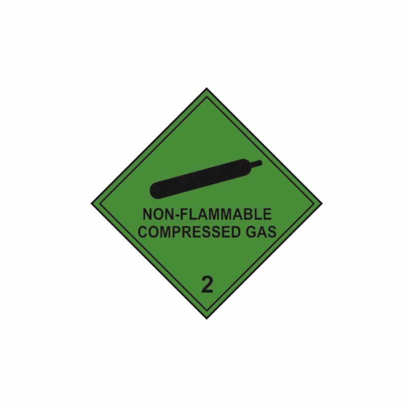 Non Flammable Compressed Gas 2 Diamond Self Adhesive Label