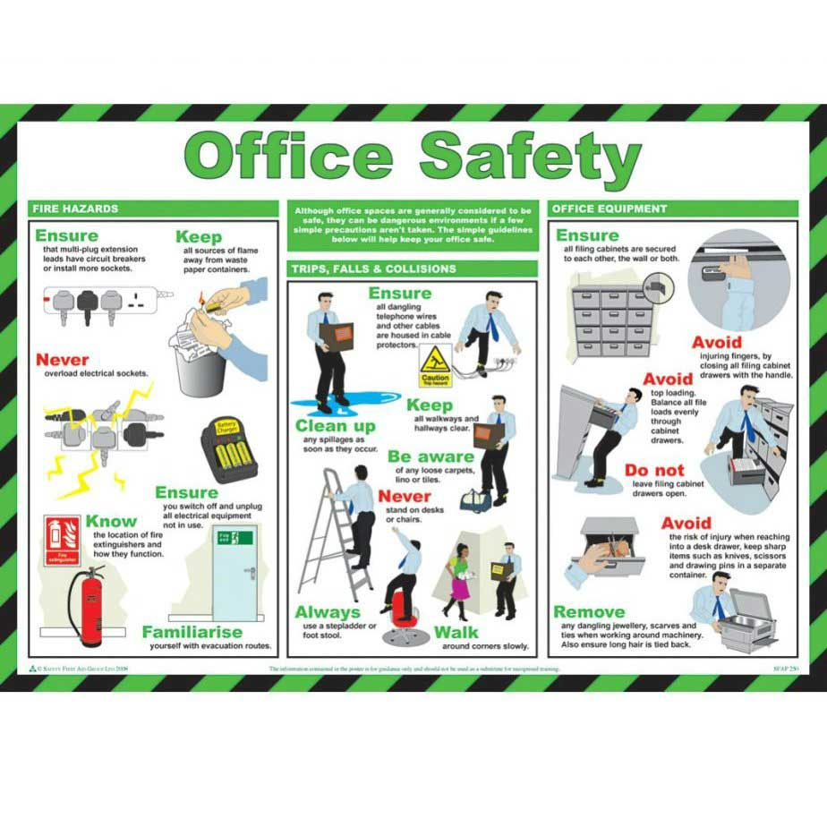 Office safety poster ese direct for Office design guidelines uk