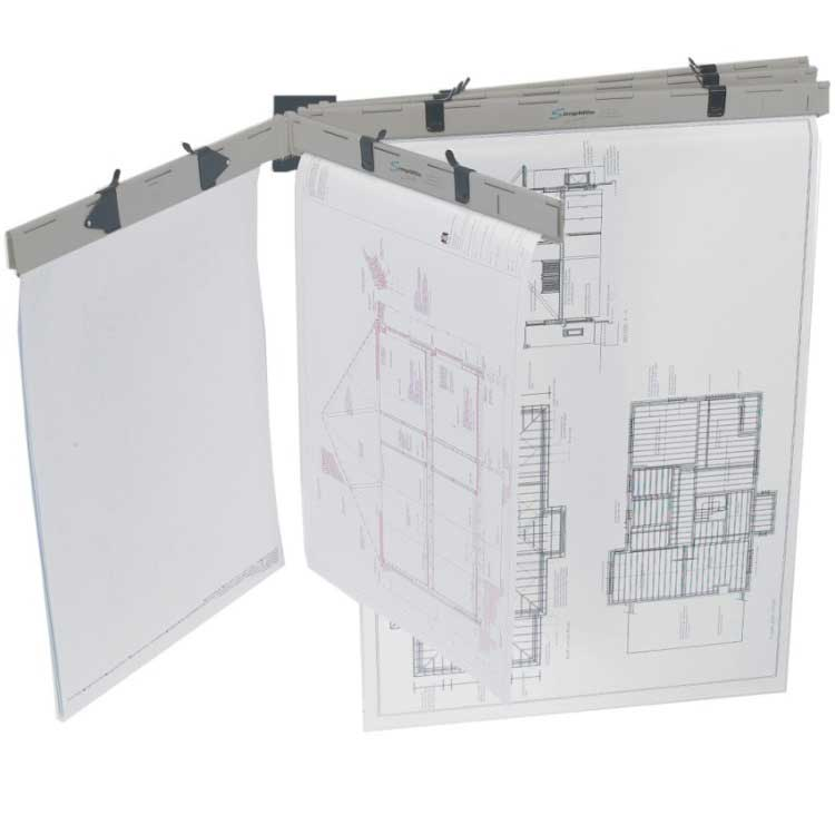Pro 2 or 5 pin wall plan racks c w pro plan holders ese for Architectural plans holder