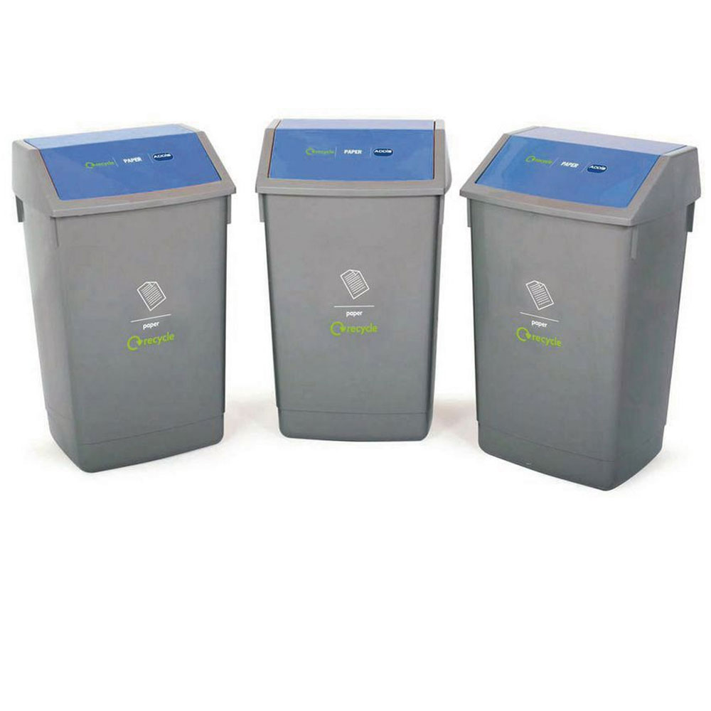 Recycling 3 Bin Kit With Flip Top Lids With Fast Uk