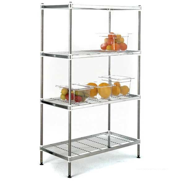 stainless steel wire shelving bays with 4 shelves ese direct. Black Bedroom Furniture Sets. Home Design Ideas