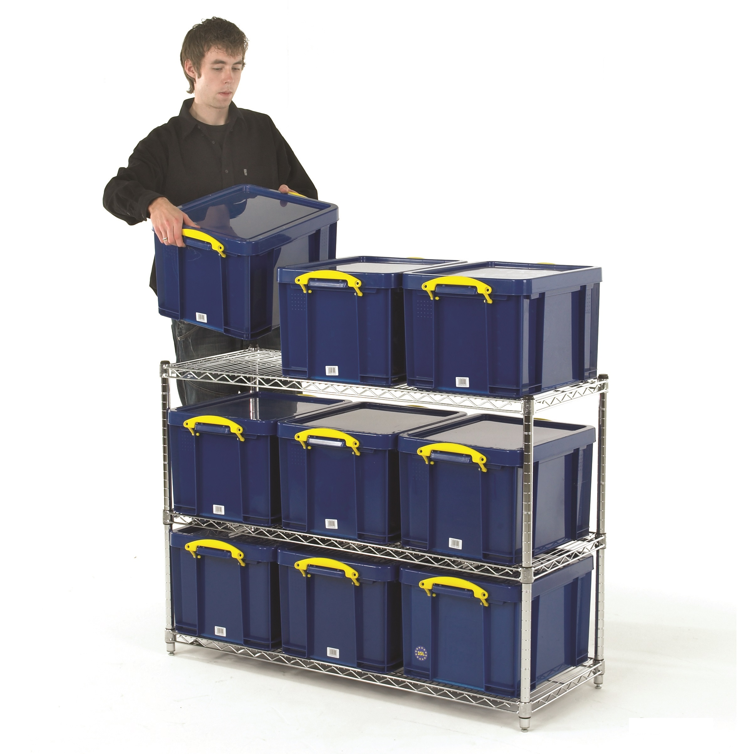 Document Storage Shelving Units with Boxes