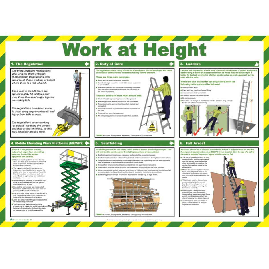 Work At Height Safety Poster Ese Direct