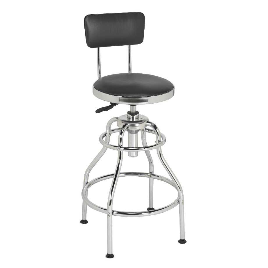 Sealey Workshop Stool Pneumatic With Adjustable Height Swivel Seat U0026 Back  Rest