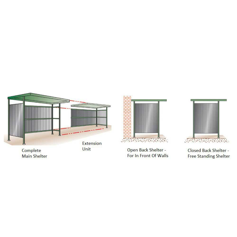 Complete shelter & Extension unit > Wall shelter w/ open back > Closed back shelter