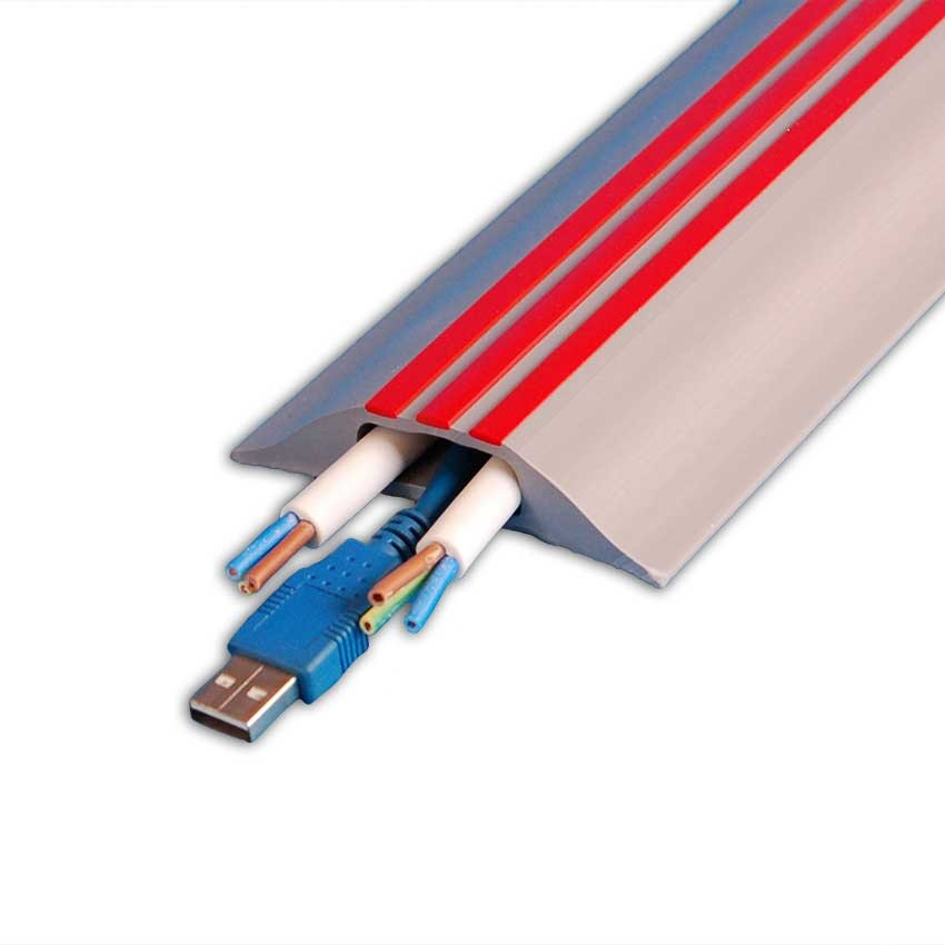 9m Hazard Identification Cable Cover - Grey with Red Stripes