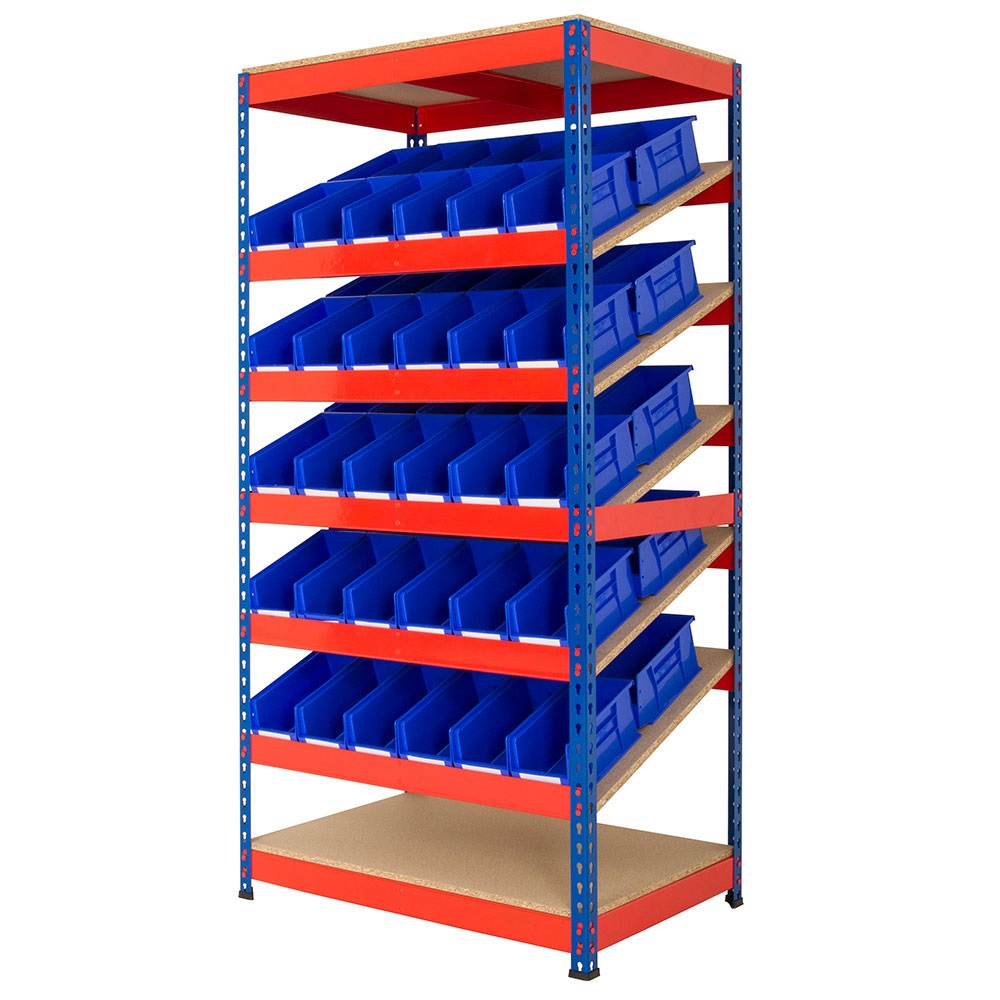 Rivet Racking Kanban Shelving with Plastic Bins