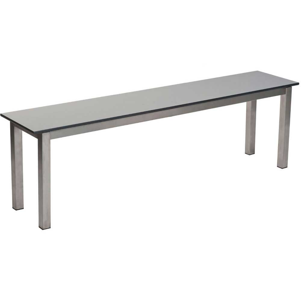 Stainless Steel Bench With Grey Laminate Seat