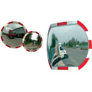 Convex Polycarbonate Traffic Mirrors with reflective edging