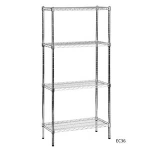 Eclipse Chrome Wire Shelving with 4 Shelves