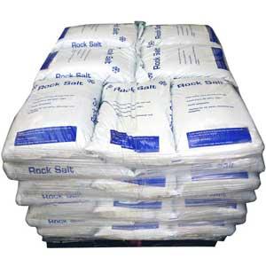 Bulk Pallets of White Road De-icing Rock Salt bags