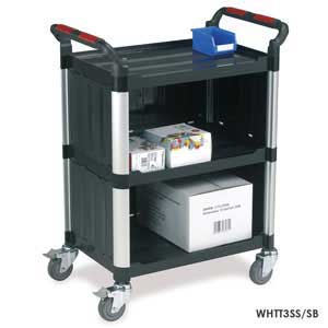 Utility Tray Trolleys with 3 Shelves with Enclosed Back and Sides