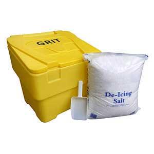 Medium Sized 60 Litre Grit Bin With 25kg Bag of Salt & Scoop