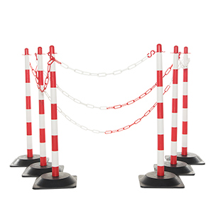 Post & Chain Kit With 4 Rubber Base Posts & Red / White Chain