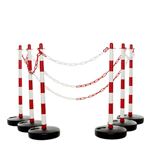 Post & Chain Kit With 4 Water Fill Base Posts & Red / White Chain
