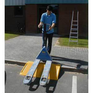 Kerb Ramp being and hand pallet truck