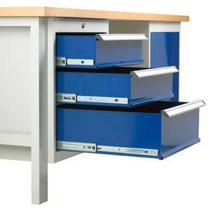 Triple drawer unit close up