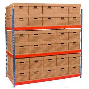 1830x1830x915mm 3 Shelf Archive Storage Racking C/W 60 Boxes
