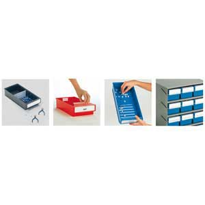 Cross dividers / Labels with protective shields / Corrugated base / Optional retainer bars
