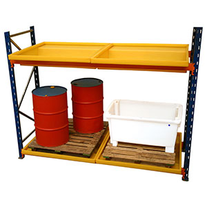 Bund Trays for Pallet Racking In Use