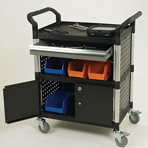 Plastic tray trolleys with drawers