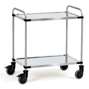 E394183 2 Tier Stainless Steel Trolley