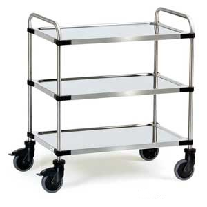 E394184 3 Tier Stainless Steel Trolley