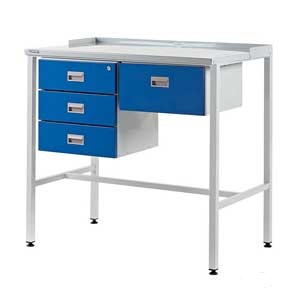Industrial Flat Top Workstation With Triple & Single Drawers