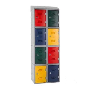 Group of 8 PL450 eXtreme Plastic Lockers With Sloping Tops