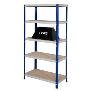 Clicka 175 Steel Shelving Bays With 5 Chipboard Shelves
