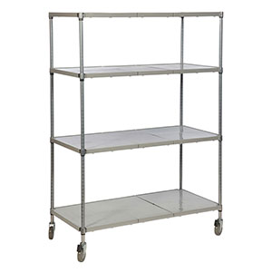 Solid Polymer Shelving System with 4 shelves