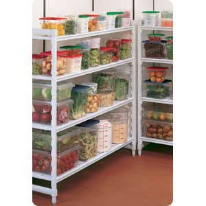 Steel Core Polypropylene Shelving used for Food Storage